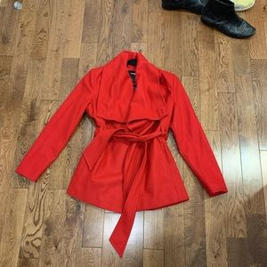 Ted Baker red short belted  wool wrap coat 3